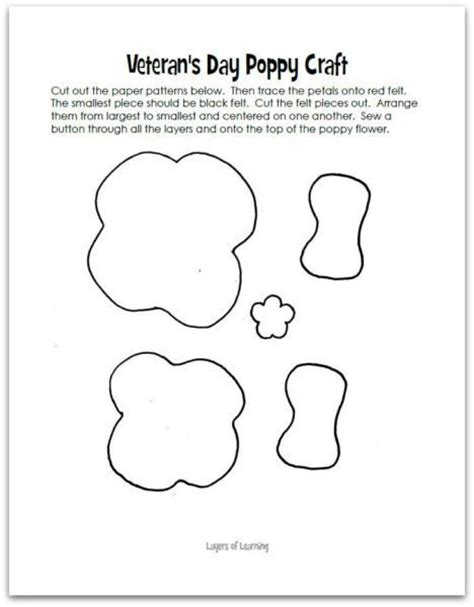 poppy cut out template veterans day poppy craft layers of learning
