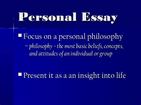 Most Essays Focus On by Personal Essay