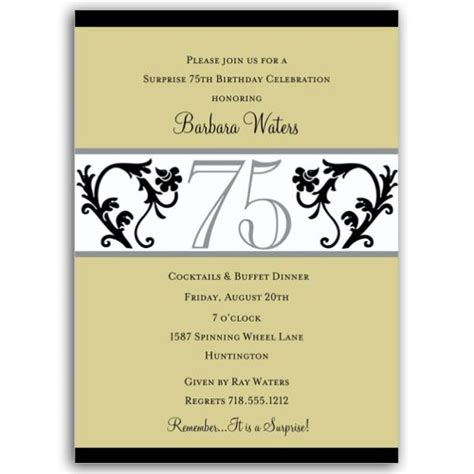 75th birthday invitation templates vine chartreuse 75th birthday invitations paperstyle