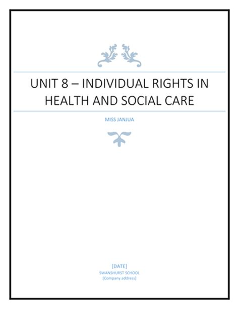 BTEC Level 2 Health and social care - unit 8 handbook by