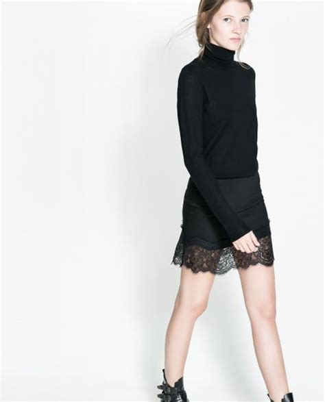 zara skirt with lace appliqu 233 in black lyst