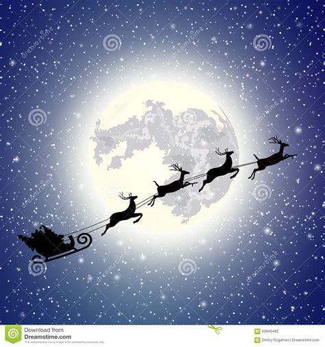 imagenes de santa claus en la luna trineo de santa claus de la silueta ilustraci 243 n del vector