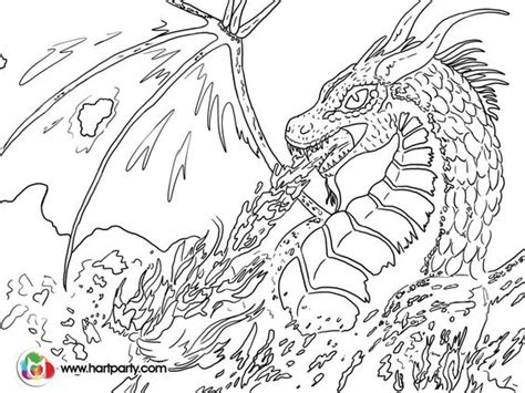 trace able coloring page for fire breathing dragon