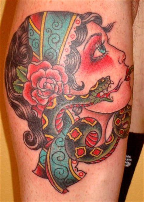 new school gypsy tattoo new school leg gypsy tattoo by black cat tattoos