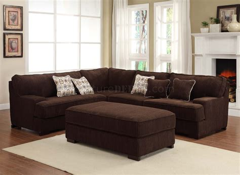 Chocolate Couches by Minnis 9759ch Sectional Sofa In Chocolate Fabric By