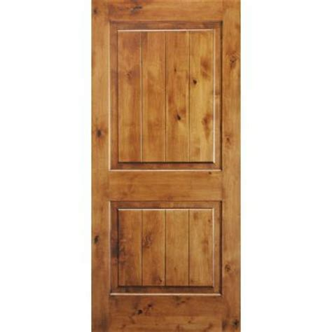 prehung interior wood doors krosswood doors 36 in x 80 in knotty alder 2 panel square top v groove solid wood right
