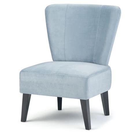 simpli home fenwick light blue velvet accent chair axcchr  lbl  home depot