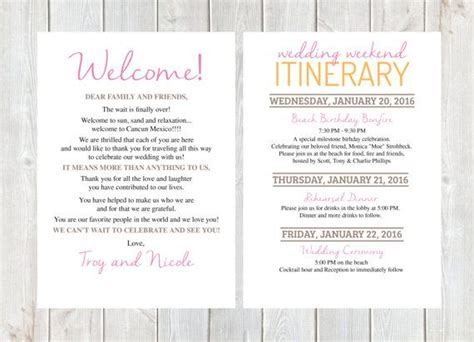 Welcome Letter Wedding Welcome Letter Wedding Itinerary Hotel Welcome Bag Welcome Bag Destination Wedding Itinerary Template