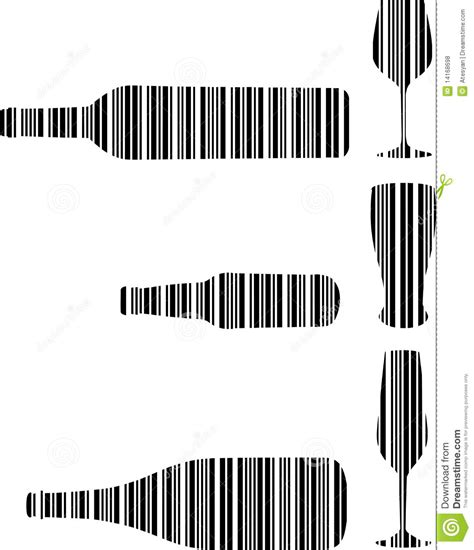 Beer Cap Bar Top Barcode Drink Bottle And Glasses Stock Vector Image