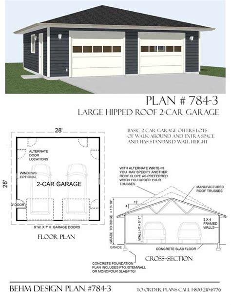 garage plan software hipped roof oversized two car garage plan 784 1 28 x 28