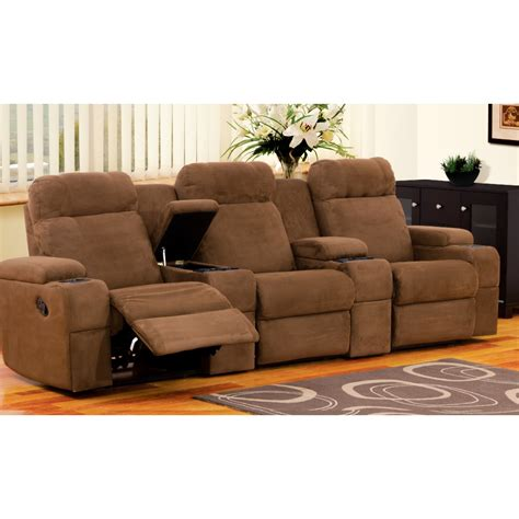 recliners for home theatre esteem home theater includes 3 recliners fabric damro