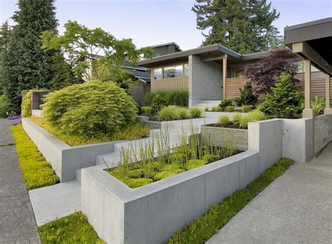 exterior massive rectangular stone planter box ideas mixed
