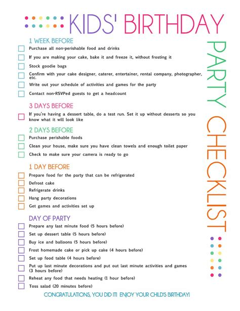 printable party planner list free printable kids party planning checklist birthday