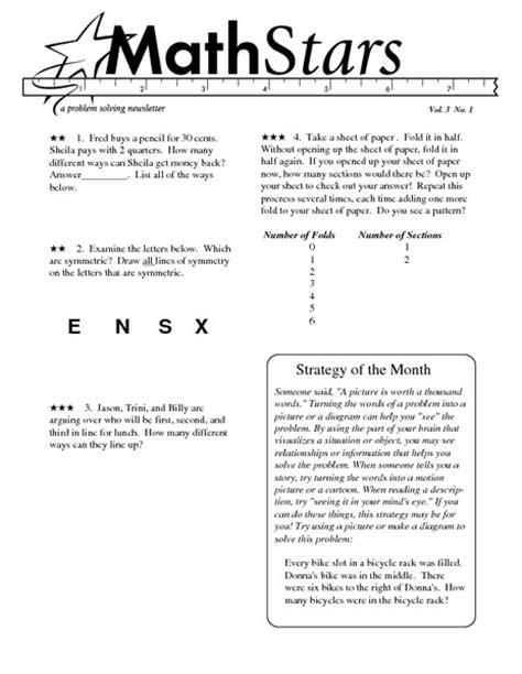 Grade 3 Math Problem Solving Worksheets by Math Problem Solving Strategies For 5th Grade