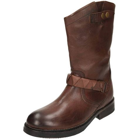 cheap leather biker boots hudson brown mid calf flat leather biker boots ladies