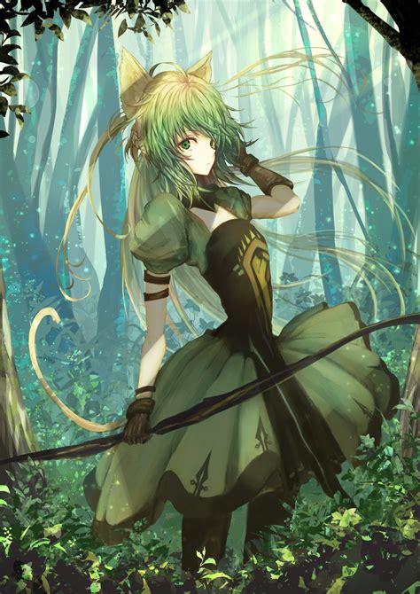 Ange Boy Trainer Green wallpaper forest anime animal ears hair