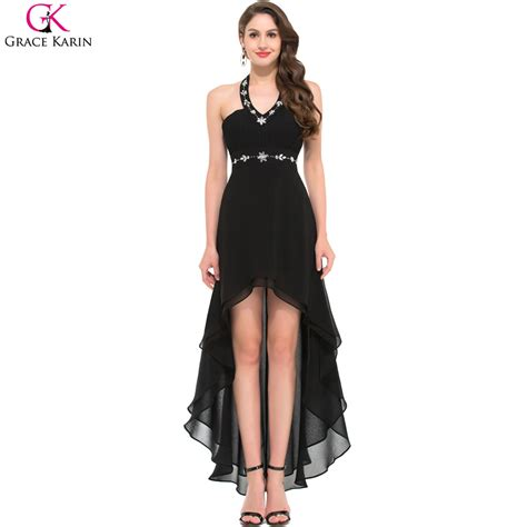 short on top but ling in back black hair cuts black prom dresses grace karin halter chiffon high low