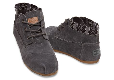 womans grey boots toms grey trim suede s boots in gray lyst