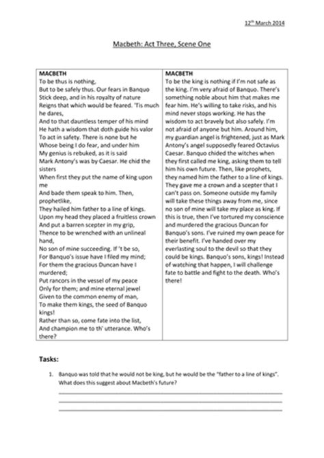 printable version of macbeth a selection of worksheets on macbeth act 1 act 3 by