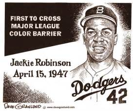 when did jackie robinson the color barrier politicalcartoons