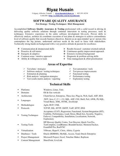 Best Resume For Qa Analyst by Quality Analyst Resume Berathen Com