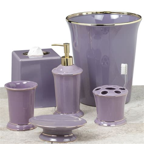 purple and gold bath accessories