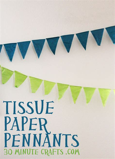 How To Make Paper Pennant Banner - pennant banner birthday decorations with tissue paper and