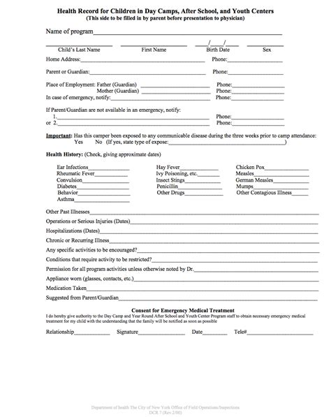 physical form template yearly physical exam form online office