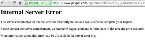 internal server error setting up paypal standard on woocommerce pinsoft studios