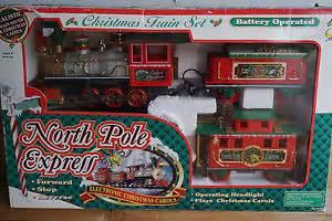 north pole express christmas train set battery