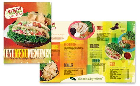 mexican restaurant menu templates mexican restaurant menu template word publisher
