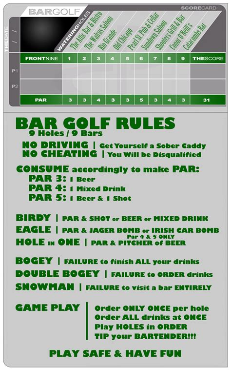 bar golf score cards template bar golf pearl freaks united