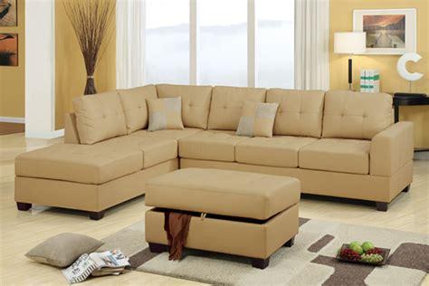khaki couch f7326 khaki sectional sofa set by poundex