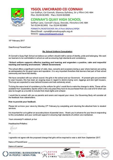 Parent Letter About Uniforms hundreds back petition on connah s quay high school