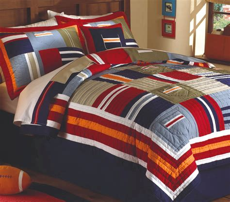 All State 3pc Quilt Bed Set Boys Sports Football Comforter Ebay Ronnie Varsity Single Quilt Set Boys Blue Stripe Comforter Ebay