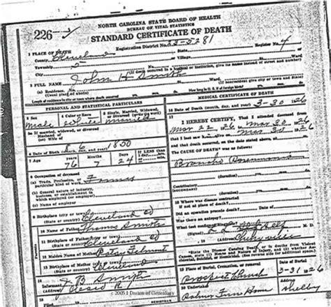 Cleveland County Nc Records I Of Genealogy Databases Cleveland County Carolina Deaths Obituaries