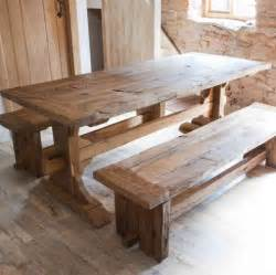 Farmhouse Dining Table With Bench Distressed Farmhouse Style Dining Table With 2 Bench