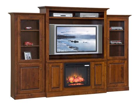 Teak Wooden Fireplace Entertainment Centre With Multi