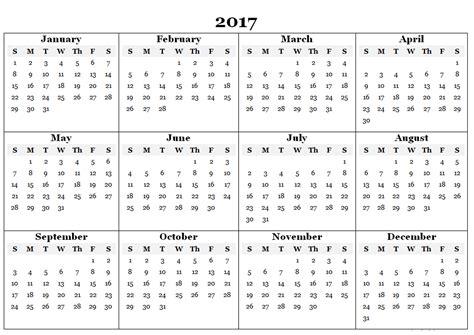 blank printable free 2017 calendars