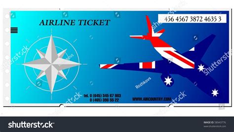 vector airline ticket  australia  shutterstock