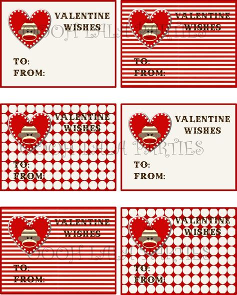 boys valentines cards free printable boy sock monkey cards
