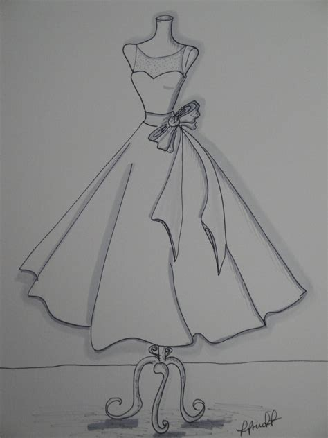 draw doodle and decorate custom wedding dress sketch by pruett of arts