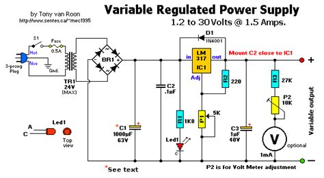 schematic diagram of regulated power supply design of 9 v regulator using 7809 with circuit diagram