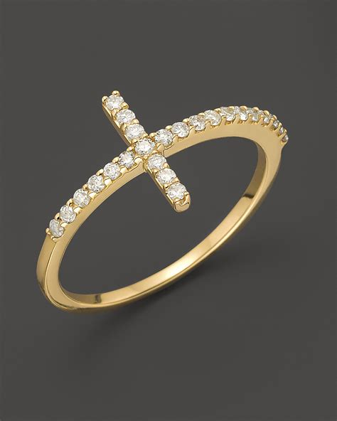 meira t yellow gold cross ring bloomingdale s