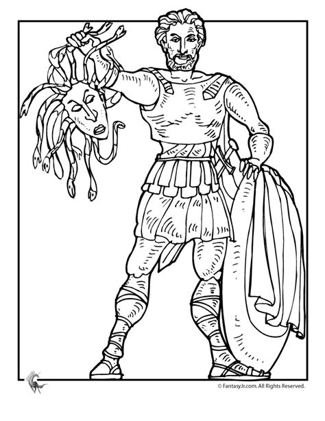 fantasy jr greek myths coloring page perseus