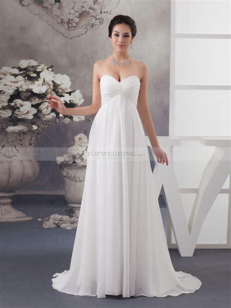 wedding dress beaded empire cut strapless chiffon bridal dress
