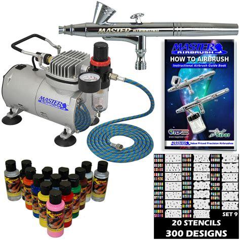 nail airbrush kit set air compressor paint 20pk stencil design dual ebay