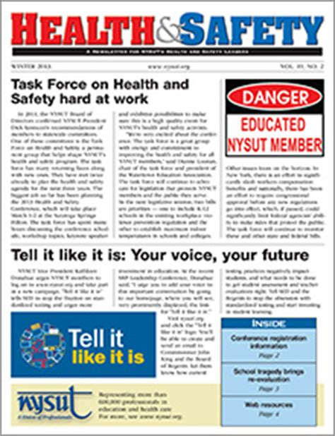 Health And Safety Newsletter Winter 2013 Safety Newsletter Template