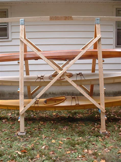 a closeup view of the construction of an a frame kayak