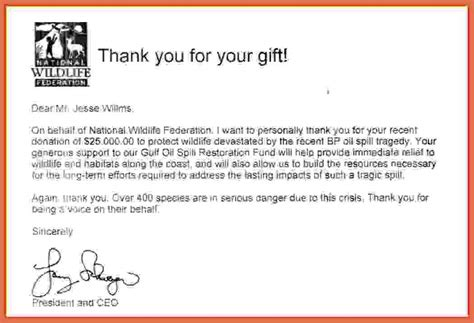 thank you letter for gift sponsorship letter thank you for donation
